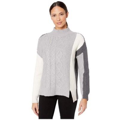 ヴィンス カムート Vince Camuto レディース ニット・セーター トップス Long Sleeve Cable Stitch Turtleneck Sweater Light Heather Grey