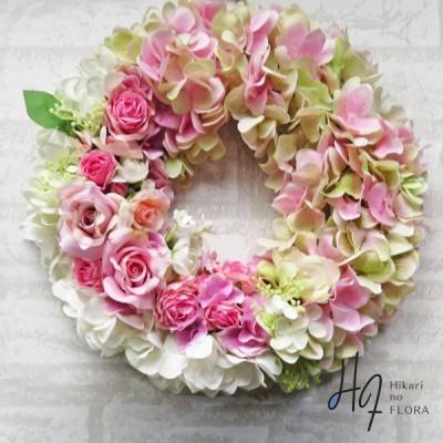 光触媒 アートフラワーリース ハイドレンジア ピンク かわいい 新築祝い 開店祝い 癒しの空間 永遠の幸せ