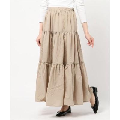 スカート ティアードフレアマキシスカート