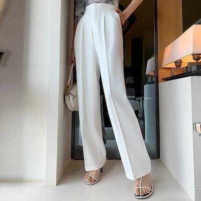 透明ではない白いパンツ女性ハイウエストジッパーポケットビッグラージサイズロングワイドレッグパンツ