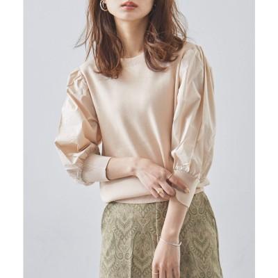 ファッションレター Fashion Letter ブラウス袖ドッキングニットトップス ボリューム袖 ベスト レイヤードシャツ デザインブラウス 21SS (ピンクベージュ)