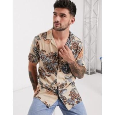 エイソス メンズ シャツ トップス ASOS DESIGN regular revere shirt in neutral eastern paisley floral Taupe