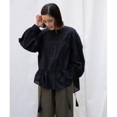 【ランドワーズ】 Chikan(刺繍)エンブロイダリーボリュームブラウス レディース ブラック F LANDWARDS