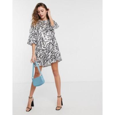 エイソス ミニドレス レディース ASOS DESIGN oversized sequin t-shirt dress in zebra print エイソス ASOS