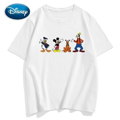 ディズニー ファッション ミッキーマウス ドナルドダック グーフィー プルート プリント カップル ユニセックス 女性 男性 Tシャツ コットン 半