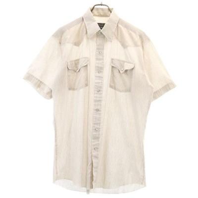 70s チェック柄 半袖 ウェスタンシャツ 茶系 Parhardle Slim ヴィンテージ メンズ 古着 200516 メール便可