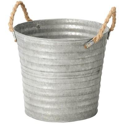 ブリキポット ラウンド3L シルバー プランター植木鉢 6号 取っ手付 シンプル おしゃれ ガーデニング
