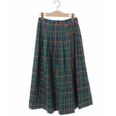 Jocomomola / ホコモモラ Londres Check フラワー刺繍スカート