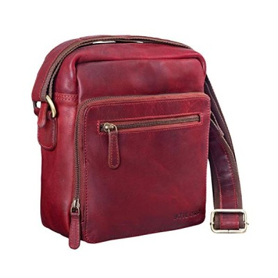 STILORD 'Nathan' Vintage Cross-Body Bag Small for Men/Shoulder Bag/for 10.1 inch Tablets iPad Genuine Buff Leather, Colour:Rosso 並行輸入品