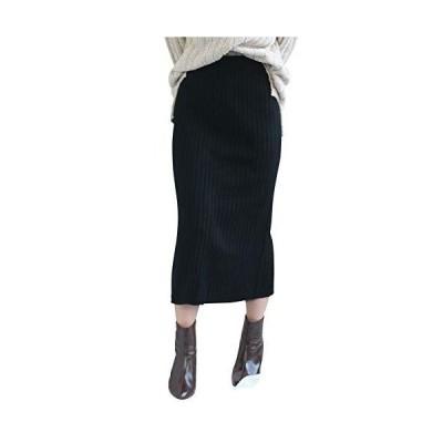 [アンドジェイ] ハイウエスト リブニット ミディ丈 スカート (3766) ブラック ワンサイズ レディース ニットスカート ペンシルスカート