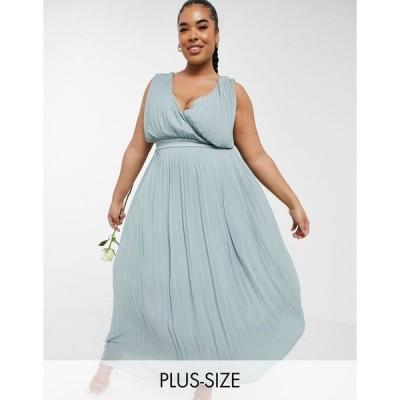 ティーエフエヌシー ドレス 大きいサイズ レディース TFNC Plus bridesmaid pleated wrap front midaxi dress in sage エイソス ASOS