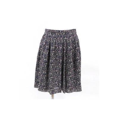 イエナ(IENA)黒×パープル系花柄スカート