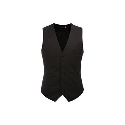 ジレ ベスト メンズ おしゃれ ビジネス フォーマル 無地 スリム 男性用 スーツ ベスト Vネック 紳士 3ポケット 5ボダン(ブラック L)