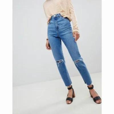 エイソス ジーンズ・デニム Farleigh high waist slim mom jeans in mid stonewash blue with rips Mid stonewash blue