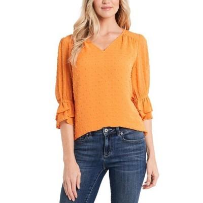セセ カットソー トップス レディース Clip-Dot Ruffle-Sleeve Blouse Orange Maple