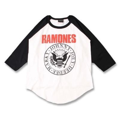 (W) ラモーンズ RAMONES 1 WHT×BLK B/B(七分袖) ラグラン ベースボールTシャツ 7分袖 バンドTシャツ ロックTシャツ