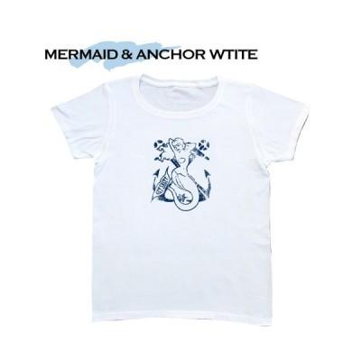 GET SALTY ゲット・ソルティー Tシャツ MARMAID & ANCHER ホワイト ハワイ hawaii