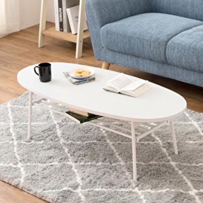 センターテーブル 折り畳み式 楕円型 幅110 棚付き おしゃれ インテリア 家具