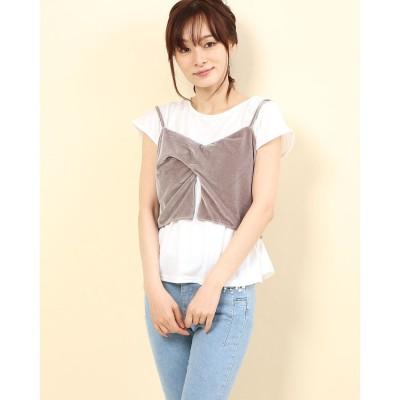 リネーム Rename ベロアキャミソール付きTシャツ (ホワイト×グレージュ)
