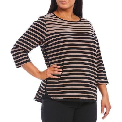 ルビーロード レディース Tシャツ トップス Plus Size Yarn-Dye Stripe Crew Neck 3/4 Sleeve Hi-Low Knit Top Taupe Multi