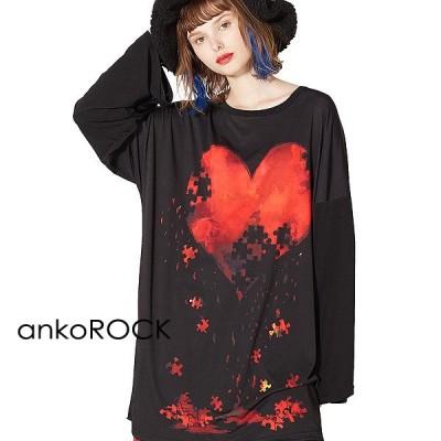 ankoROCK アンコロック Tシャツ メンズ カットソー ワンピース ビッグTシャツ レディース ユニセックス クルーネック プリントTシャツ ビッグシルエット 退廃