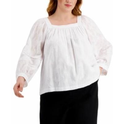 カルバンクライン レディース シャツ トップス Plus Size Square-Neck Puff-Sleeve Top Soft White