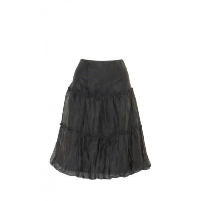 スカート 無地 Aライン 裏地あり シフォン フリル バルーン 裾 膝丈 黒 Mサイズ