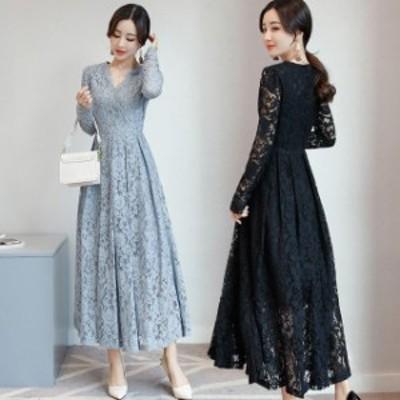 [即納] 結婚式 お呼ばれ ドレス 20代 30代 40代 50代 パーティードレス ワンピース ロングドレス 黒 袖あり 総レース カシュクール 大き