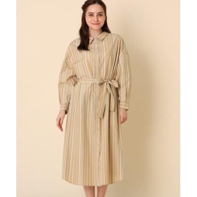 【クチュールブローチ】 前後2WAYストライプシャツワンピース レディース ベージュ 40(L) Couture Brooch