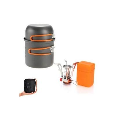 全国送料無料!BAIYAN Hot Outdoor Supplies Camping Cookware Set Package Outdoor Portable Picnic &Stackable Pots and Pans Set (Color :