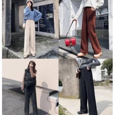 センタープレスワイドパンツ パンツ ハイウエスト 韓国ファッション オフィスルック 通勤 OL 仕事 上品 フォーマル デート あったか
