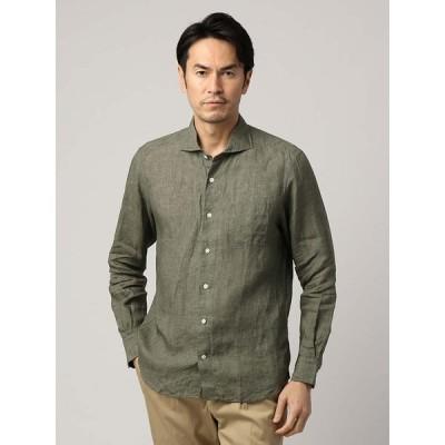 カジュアルシャツ/メンズ/ETONNE/製品洗い ピュアリネンホリゾンタルカラーシャツ/Fabric by Albini/ カーキ