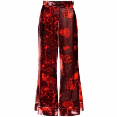 エラリー Ellery レディース ボトムス・パンツ Jacquard printed velvet trousers Burgundy/Red