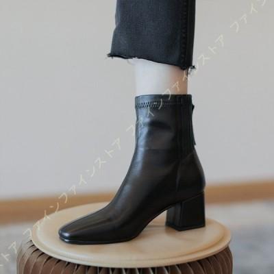 ショート ブーツ スクエアトゥ レディース 本革 ストレッチ チャンキー ヒール 6センチ ブーティー 歩きやすい 大きいサイズ ショートブーツ バックジッパー