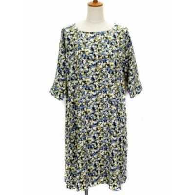 【中古】ショコラフィネローブ chocol raffine robe ワンピース フレア 花柄 フラワープリント 七分袖 F 黄 青