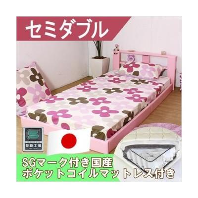 ベッドフレーム ベッド おしゃれオールレザー貼り棚付きフロアベッド ブラウン セミダブル 日本製ポケットコイルスプリングマットレス付き オール日本製
