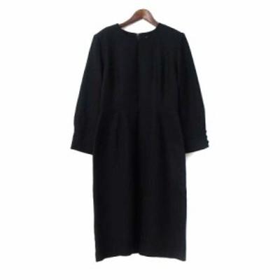 【中古】シノン CHINON ワンピース 7 S 黒 ブラック ウール 長袖 ロング 無地 シンプル レディース