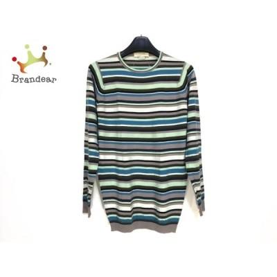 ジョンスメドレー JOHN SMEDLEY 長袖セーター サイズS メンズ - ライトグリーン×グレー×マルチ  値下げ 20210401