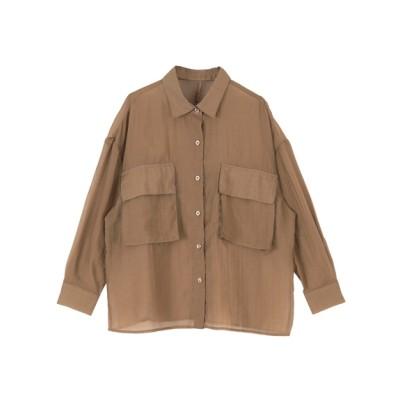 titivate (ティティベイト) レディース ビッグポケットシアーワークシャツ ブラウン F