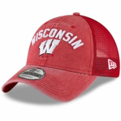 New Era ニュー エラ スポーツ用品  New Era Wisconsin Badgers Red Rugged Stack Trucker 9TWENTY Adjustable Snapback Hat