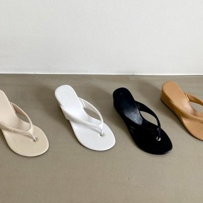 サンダル トング ウェッジヒール ウェッジソール レディース 黒 白 ブラック アイボリー ホワイト ベージュ 靴 婦人靴 歩きやすい 痛くない