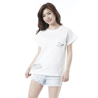 オーシャンパシフィック Ocean Pacific OP 日本正規品 レディース 半袖 Tシャツ 手書き風 プリント ポケット Tシャツ 袖口 折り返