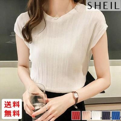 サマーニットシャツ Tシャツ トップス レディース シースルー 薄手 フレンチスリーブ 大人 上品 きれいめ 予約注文