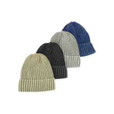 ニット帽、ニットキャップ ニット 帽子 リブ編みコットンリネンワッチ ヤング