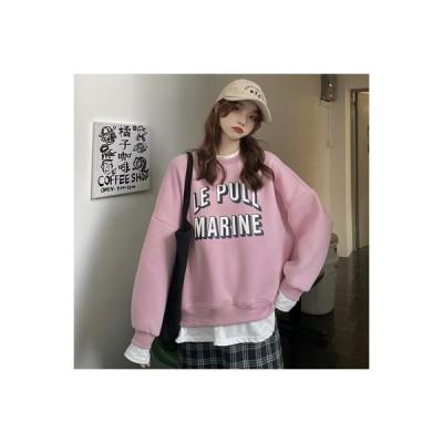 【送料無料】~ 秋と冬 韓国風 ルース 文字の印刷 偽 裏起毛 長袖セーター | 346770_A64488-9318127