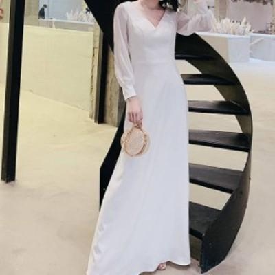 Vネックロングドレス フレア ワンピース ロング丈 イブニングドレス マキシ丈 長袖 パフスリーブ エレガント パーティー 結婚式 お呼ばれ