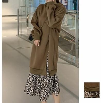 韓国 ファッション レディース ワンピース 秋 冬 春 カジュアル naloH368  ビッグシルエット パーカー レイヤード風 ラフ シンプル コー