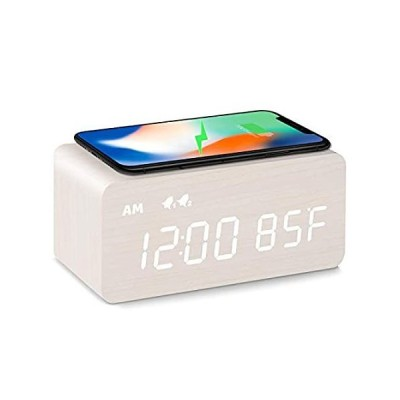 MOSITO Digital Wooden Alarm Clock with Wireless Charging, 0-100% Dimmer, Du
