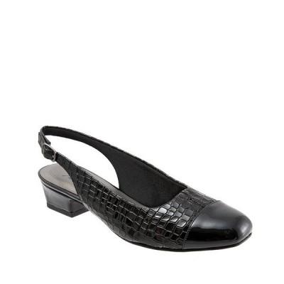 トロッターズ レディース パンプス シューズ Dea Patent Croco Print Slingback Block Heel Pumps Black Croco