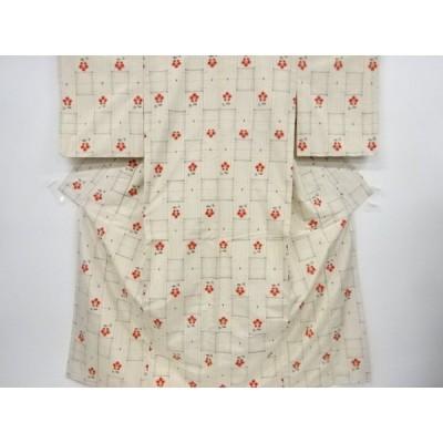 宗sou 絣格子に花模様織り出し手織り節紬着物【リサイクル】【着】